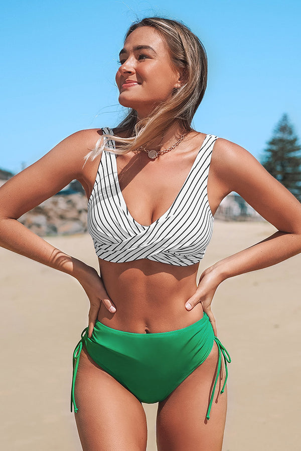 Stripe Bikini with Green Cinched Bottom