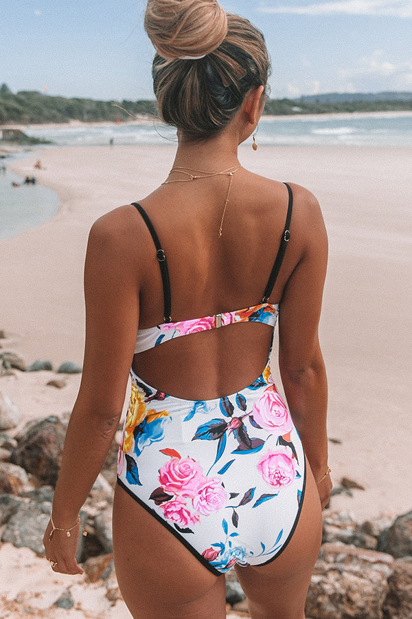 Bold Floral And Stripe One-Piece Swimsuit