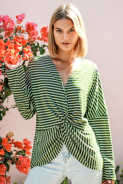 Green Stripe Front Twist Top