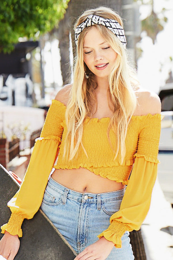 Yellow Smocked Wrap Top