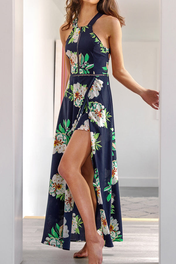 Navy Blue Floral Printed Lace Dress