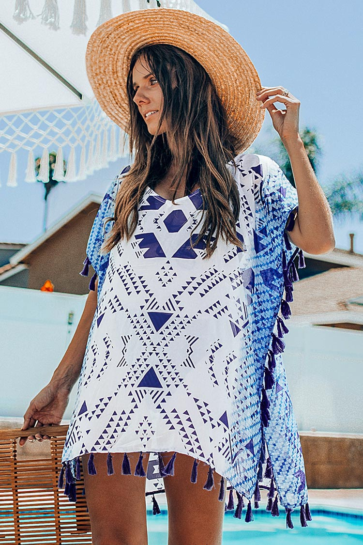 Geometric Print Tassel Trim Cover Up