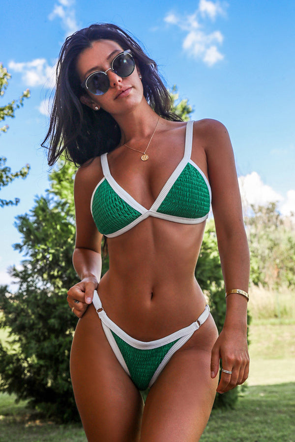 Green Smocked Triangle Bikini