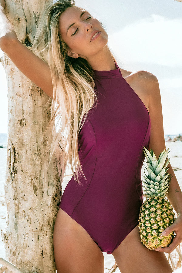 Purple High-Neck Halter One-Piece Swimsuit