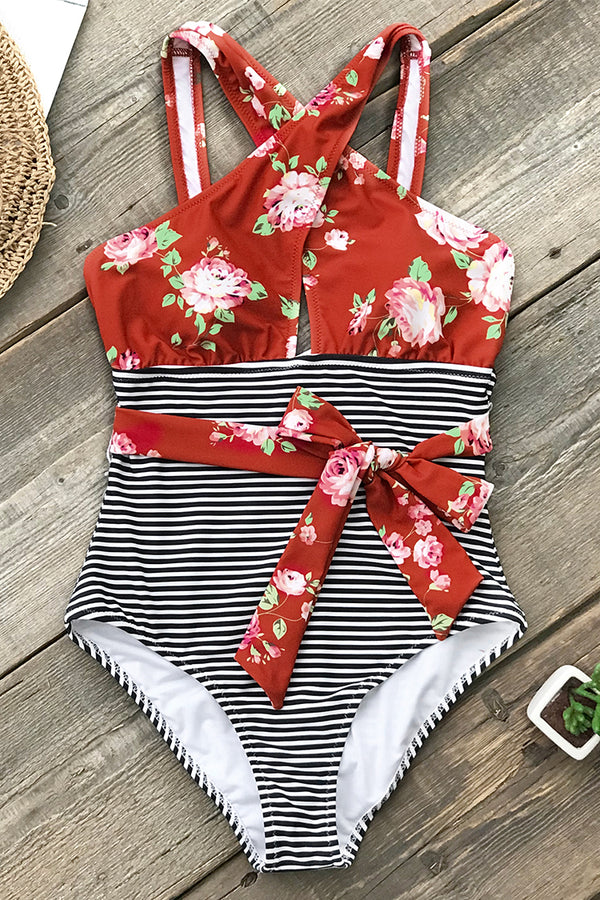 Red Floral And Stripe Belted One-Piece Swimsuit