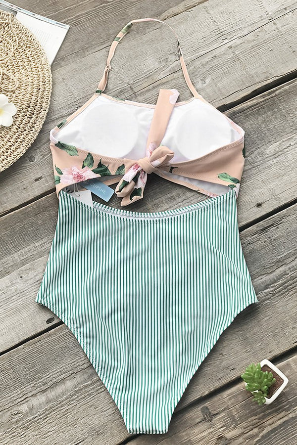 Pink Floral And Green Striped One-piece Swimsuit