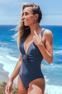 Navy Belted V-Neck One-Piece Swimsuit