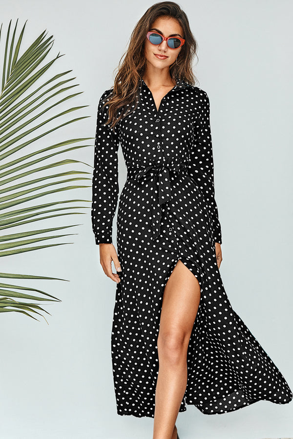 Polka Dot Belted Maxi Dress