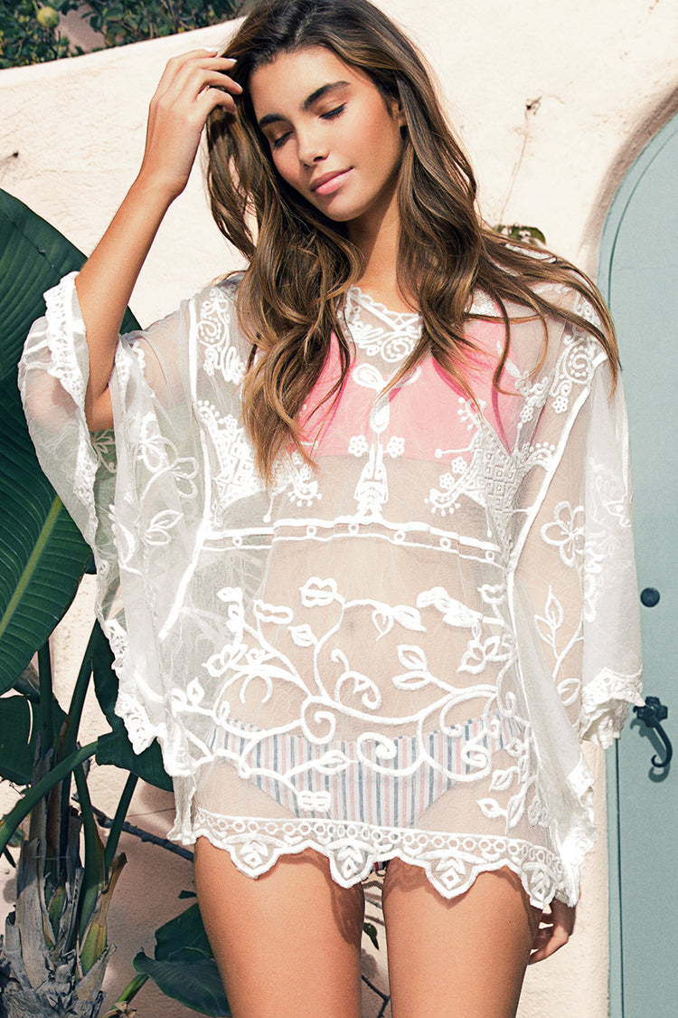 Flower And Butterfly Lace Cover Up