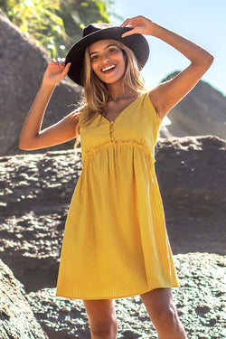 Bright Yellow Lace Up Mini Dress