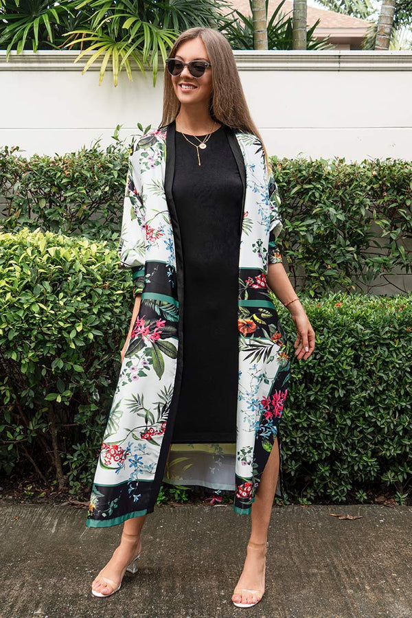 Floral and Leafy Maxi Cover Up