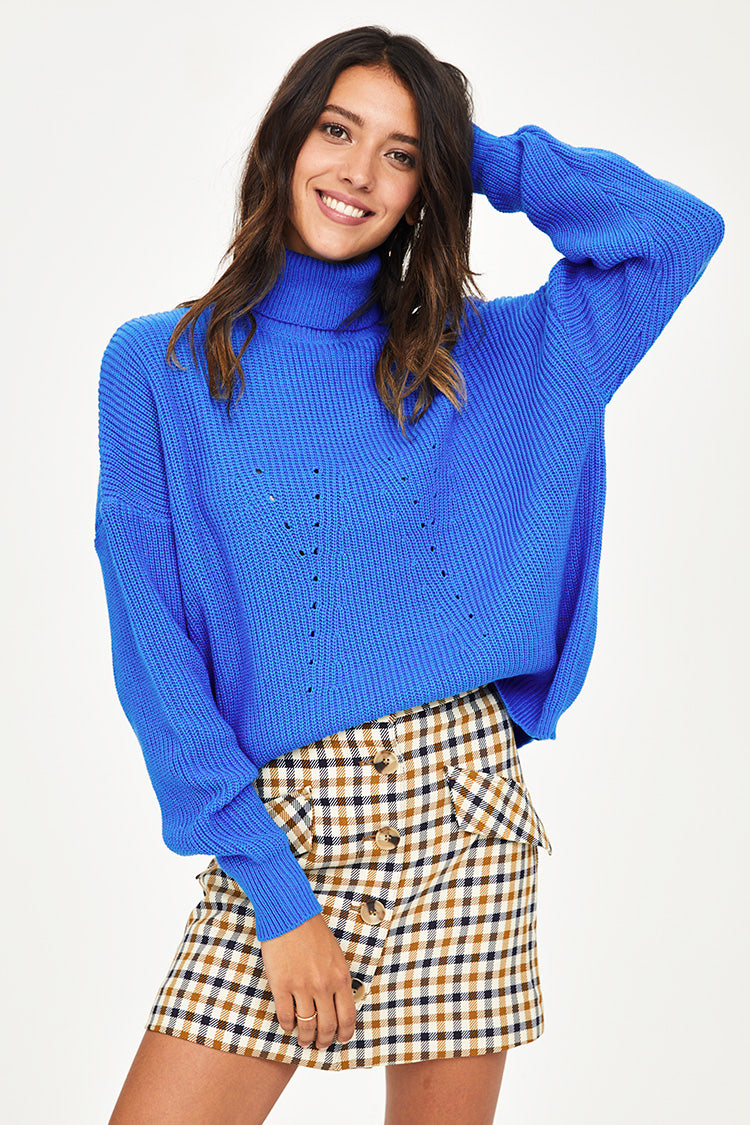 Bright Blue High Neck Sweater