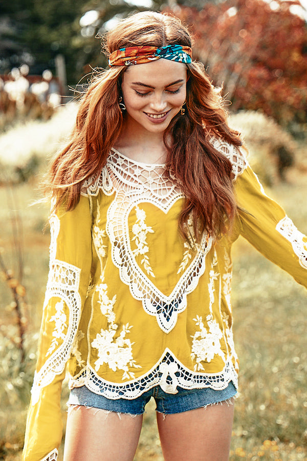 Yellow Crochet Hollow Out Cover Up