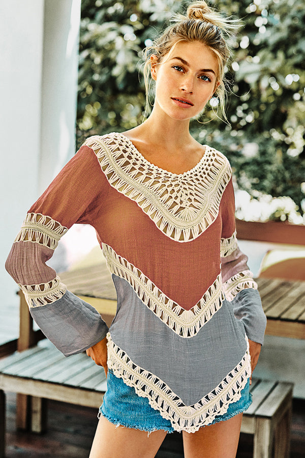Long Sleeve Color Blocked Crochet Top
