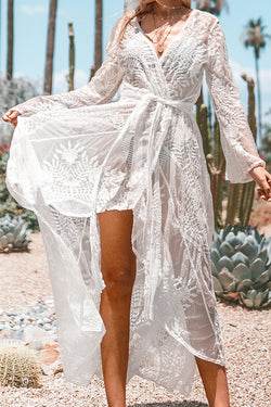 White Lace Maxi Wrap Cover Up