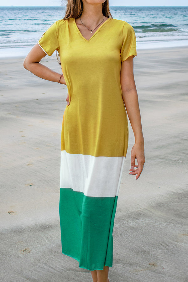 Yellow, White and Teal Colorblocked Midi Dress