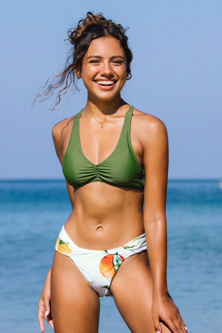 Green and Fruit Ruched Bikini