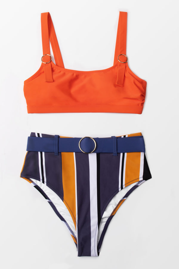 Bright Summer Belted Striped Bikini