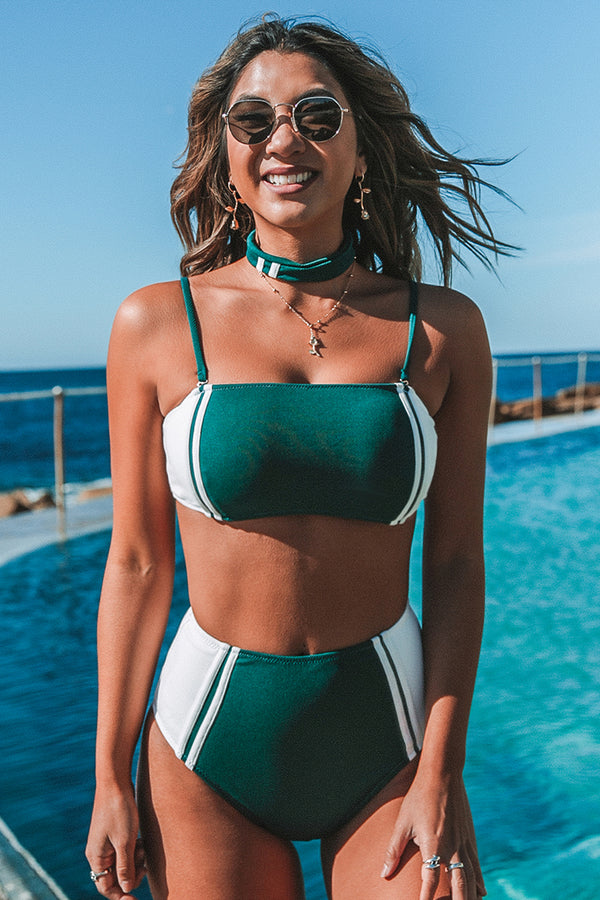 Green and White High-Waisted Bandeau Bikini