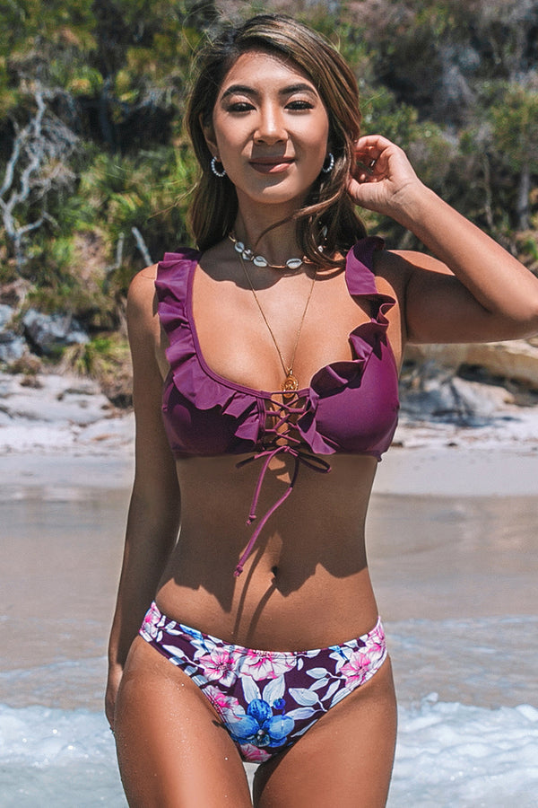 Purple Ruffle and Floral Print Bikini
