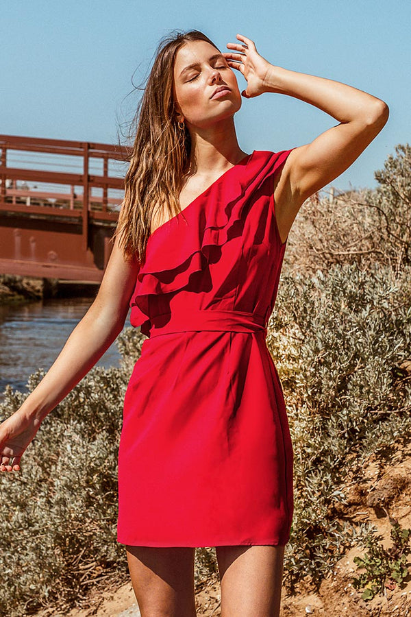 Red Ruffled One Shoulder Short Dress