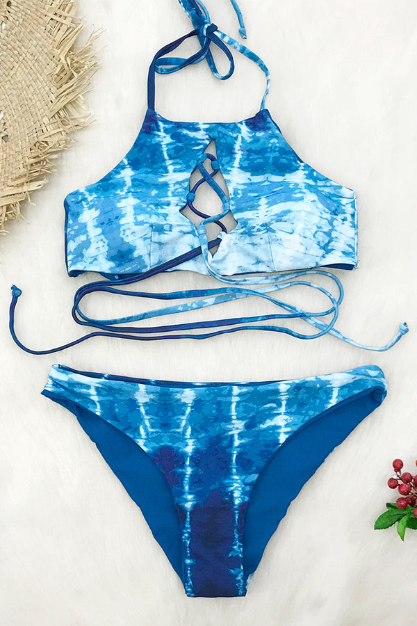 Reversible Ocean Blue Tie-Dye Lace-Up Bikini