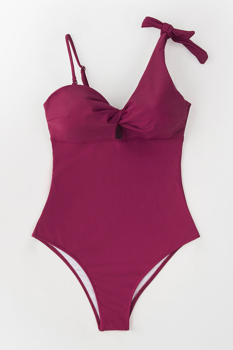 Wine Red Twist One Piece Swimsuit