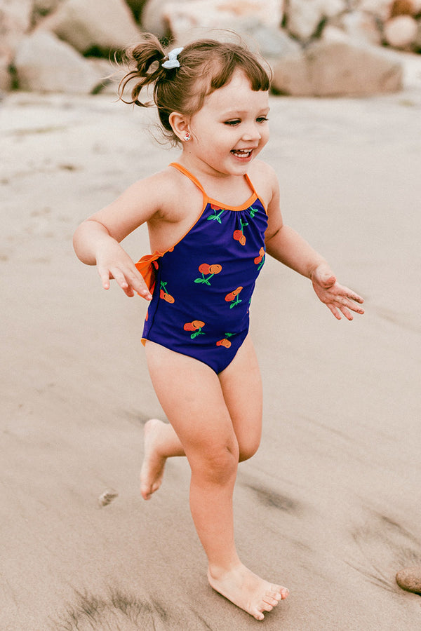 Cherry Ruffles One Piece Swimsuit For Toddler Girls and Girls
