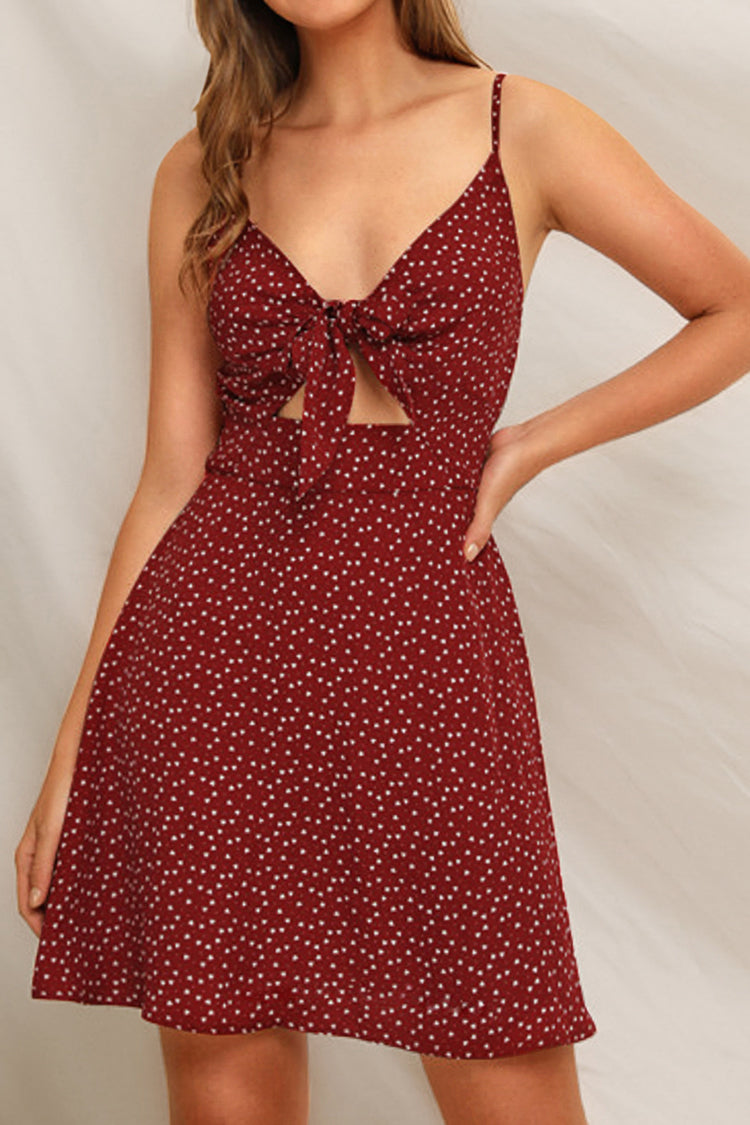 Wine Red Polka Dot Front-Tie Dress