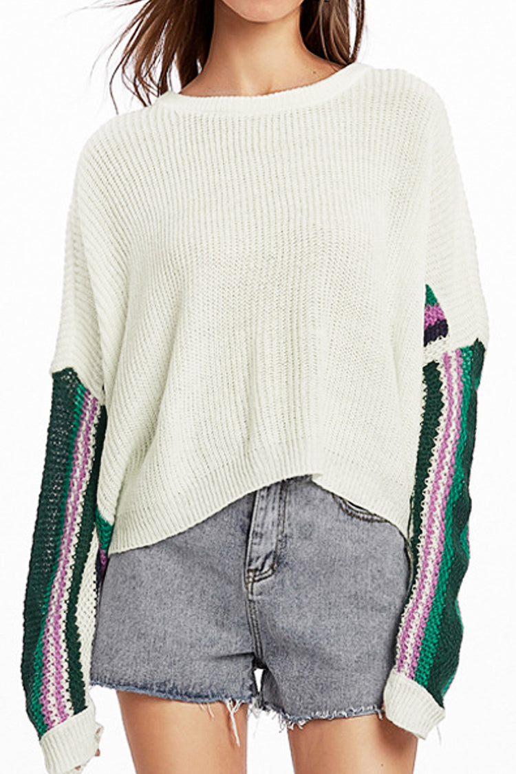 Striped Sleeves White Knit Sweater