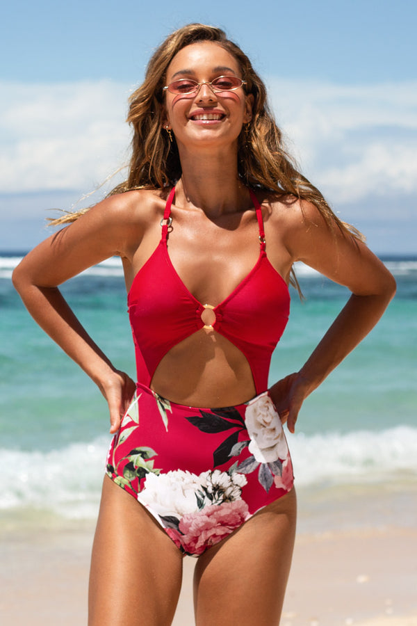 Ariel Floral Cutout One Piece Swimsuit