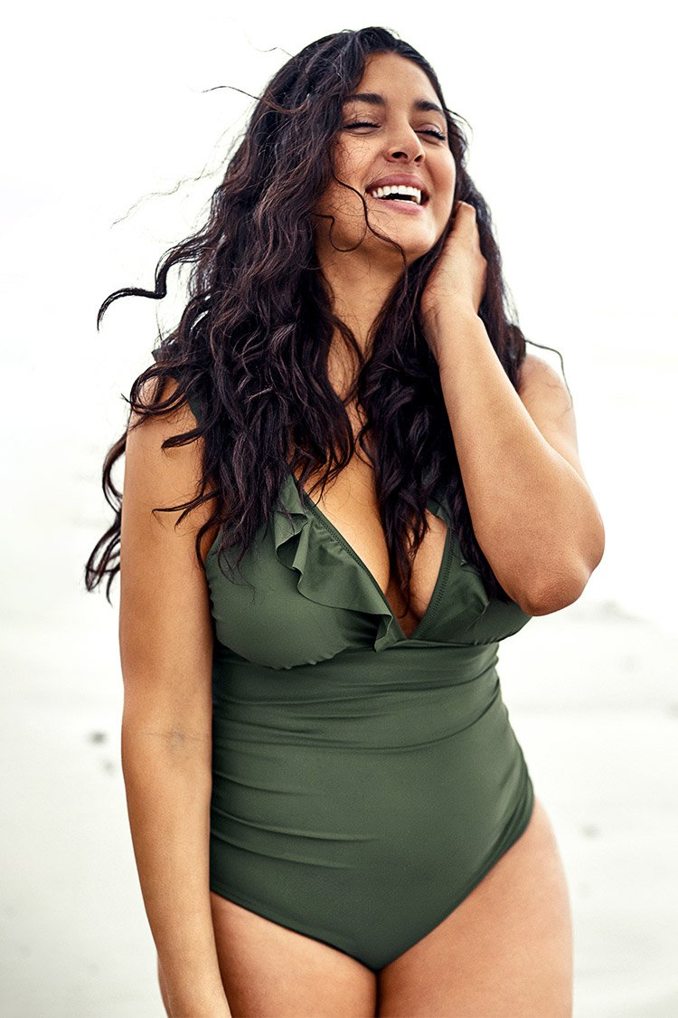 Green Ruffled Plus Size One Piece Swimsuit