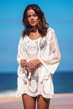 White Boho Floral Cover Up