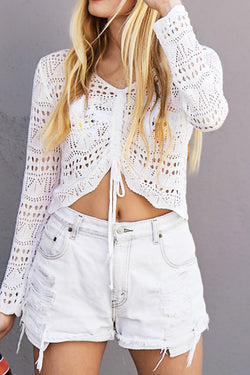 Sunshine White Ruched Crop Top