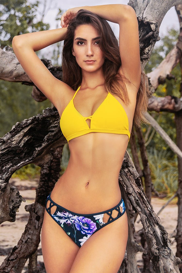 Yellow and Floral Strappy Bikini