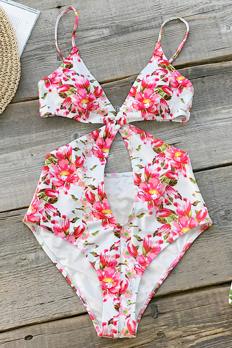 Pink Floral High Leg One-Piece Swimsuit