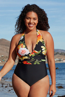 Floral and Black Plunge Halter Plus Size One Piece Swimsuit