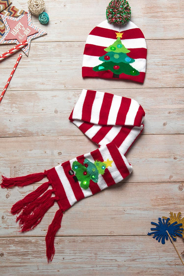Holiday Tree Print Hat and Scarf Set