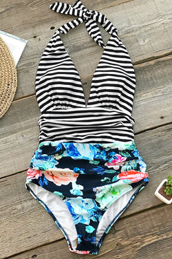 Black Stripe And Floral One-Piece Swimsuit