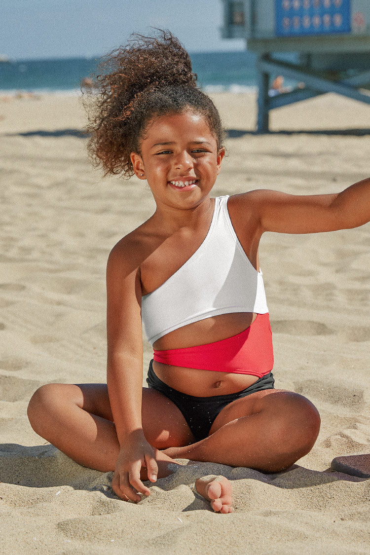 One Shoulder Cutout One-Piece Swimsuit For Toddler Girls and Girls