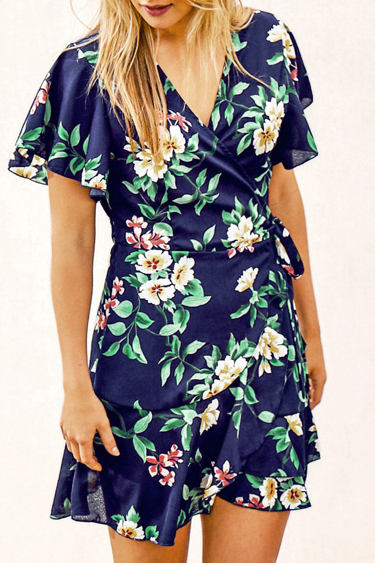 Navy Floral Print Ruffles Side Lace Up Dress