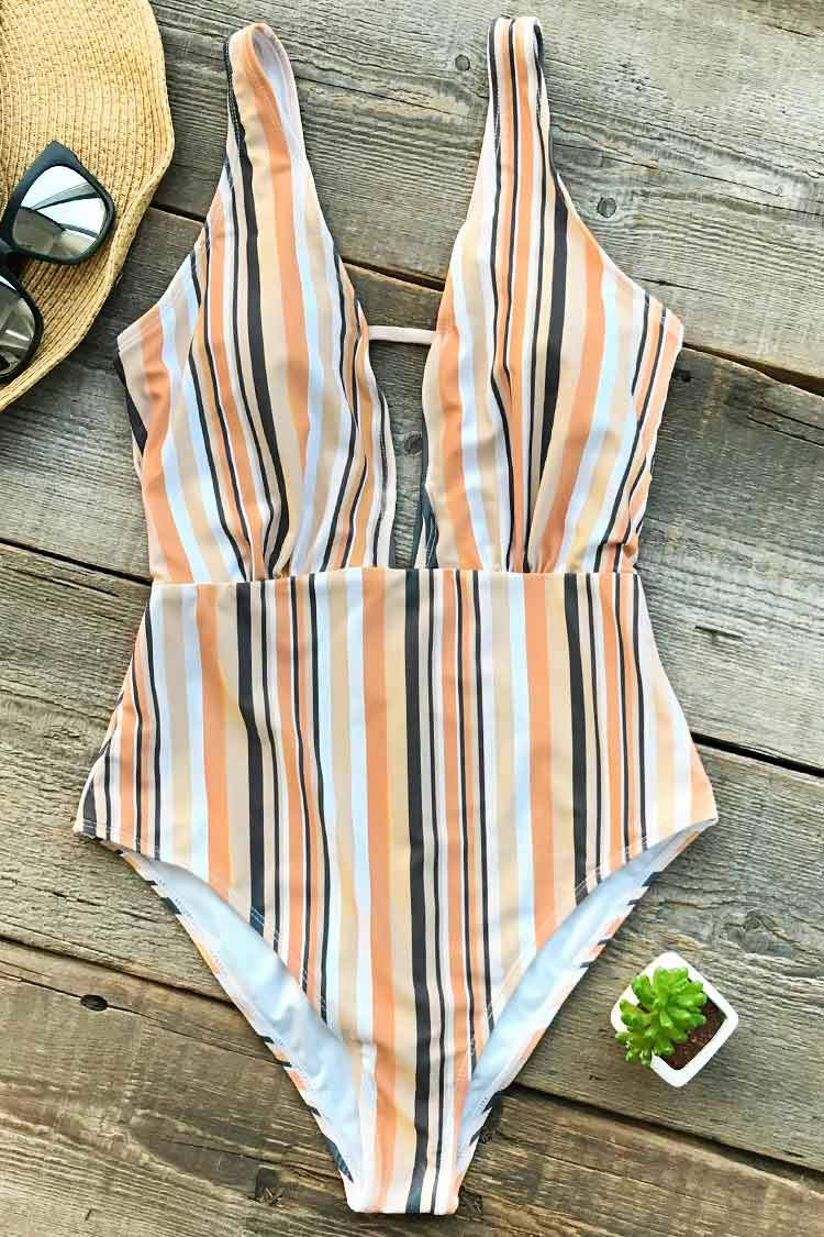 Make Unique Stripe One-piece Swimsuit