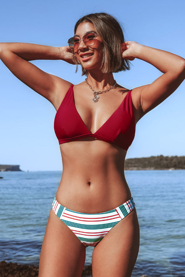 Red White and Blue V-Neck Bikini
