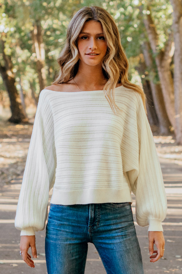 White Off Shoulder Oversized Sweater