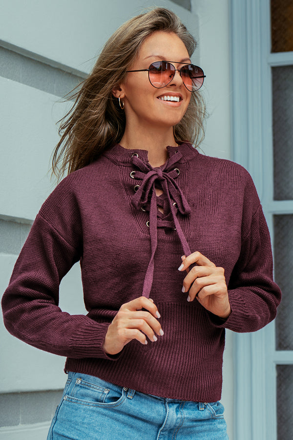 Maroon Lace-Up Sweater