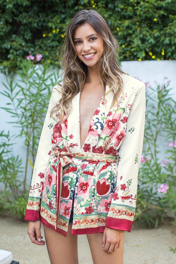 Romantic Floral Belted Cover Up