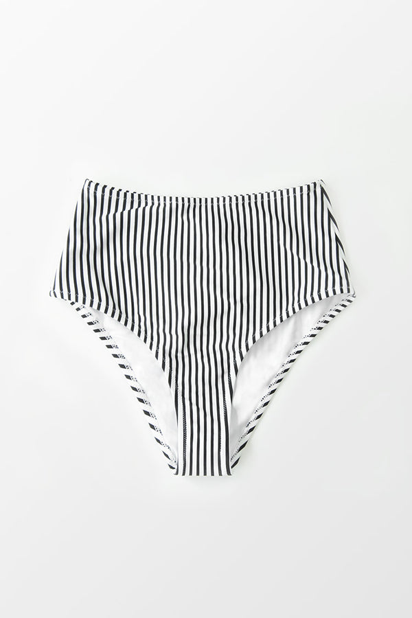 Striped High Waisted Bikini Bottom