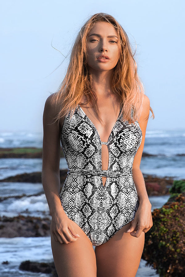 Snake Print One-Piece Swimsuit