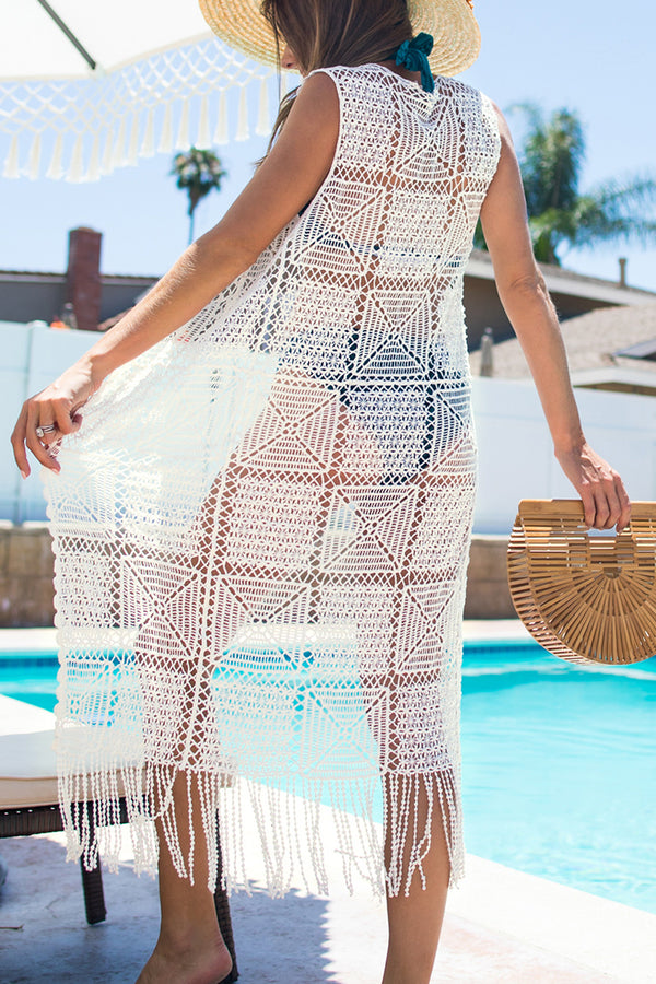 White Square Print Crochet Cover Up with Fringe