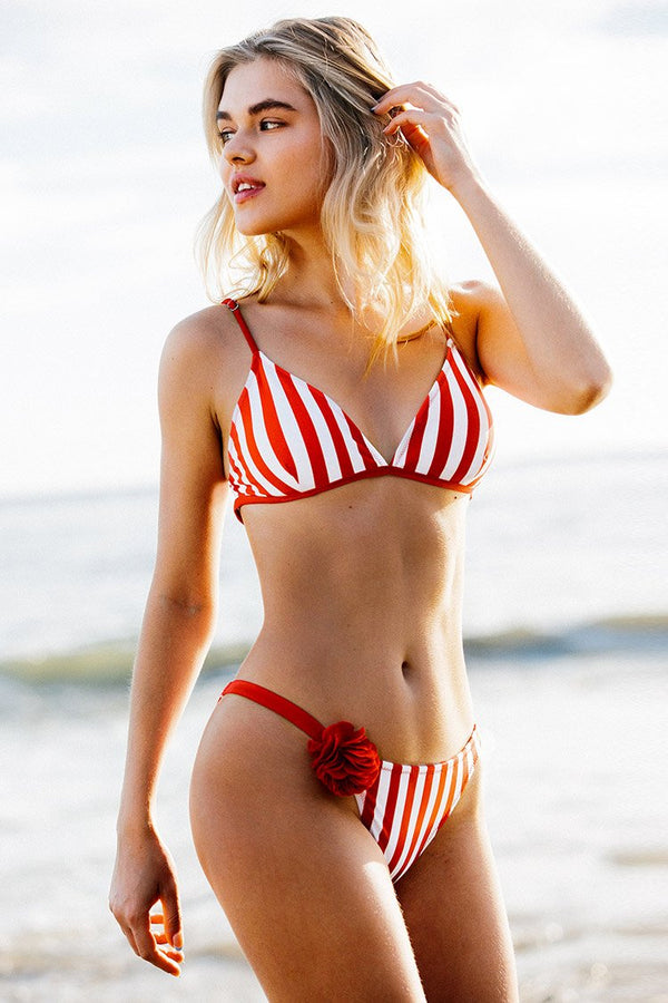 Red and White Triangle Stripe Bikini